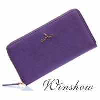 New Womens Purple Real Genuine Leather Wallet Zipper Clutch Credit Card Slot Checkbook Multi Function Standard Organizer Purse