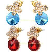 18k Rose Gold Gp Blue/Red Crystal Drop CZ Earrings Chrismas Gift /Fashion Jewelry KKE390