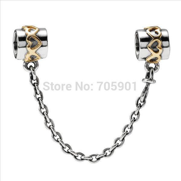 x036 5cm sicurezza della catena in argento sterling 925 european fascino tallone per braccialetto orecchini ad anello set di gioielli 790307