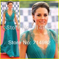 Elegant v neck chiffon and lace green with sash kate middleton evening dress