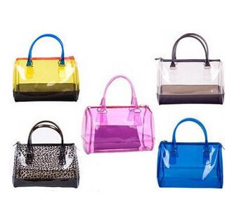 Transparent bags women's handbag jelly crystal bags beach bag candy color bucket handbag(China (Mainland))