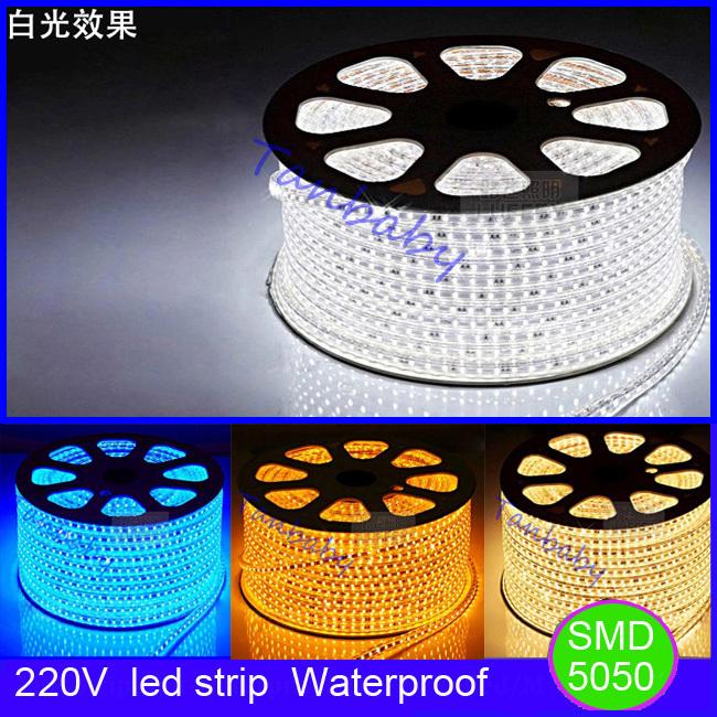 Tanbaby AC220V led strip waterproof flexible bar light SMD 5050 led lighting 60led/M 5M with EU plug outdoor garden decoration(China (Mainland))