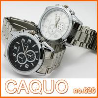 A+++ quality Brand CAQUO Men fashion style quartz round analog waterproof stainless steel watches man watch wristwatch #626