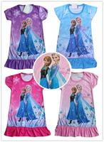 2014 New Frozen dress Princess girl summer dresses Elsa  Anna dress cartoon print sleepcoat nightgown nighty clothes