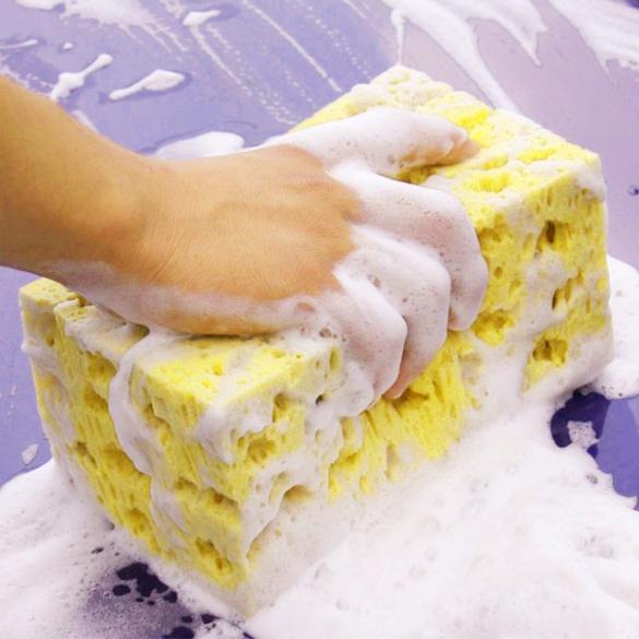 New Fashion Hot Sale Mini Yellow Car Auto Washing Cleaning Sponge Block free shipping(China (Mainland))