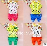 New 2015 100% cotton kids clothing sets, T-shirt+pant, cartoon cat children set, girls' clothes, 4 colors available