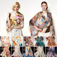 180X70cm Floral Print Pure Silk Long Scarves Fashion Designer Brand Women Shawl 2015 New Arrival Silk Scarf Of Women