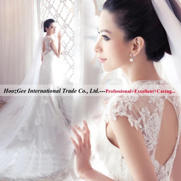 2015 nova moda Backless noiva rabo de peixe trem real do laço do Vintage sereia luxo princesa vestido de noiva deslumbrante adicionar véu 7901(China (Mainland))