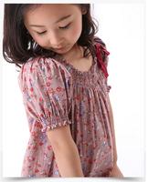 New 2014 1413065  summer vintage fashion girls clothing set flower dress and  o-neck short cap sleeves children kids clothes set