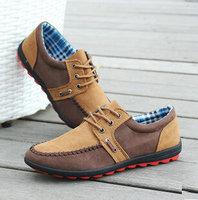 New 2014 Fashion Men Flat Shoes British Style Patchwork Suede Men shoes Casual Canvas Shoes Men