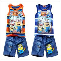 New 2015 Summer Boy Clothing Striped Vest Despicable Me Minions Vest + Kids Sport Suit Pants Boy Clothing Set  Boy's Tracksuits
