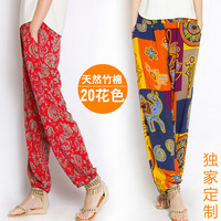 2014 loose pants thin harem pants bloomers print national trend bamboo cotton plus size
