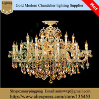 Fashion Double Layer Luxury Candle Gold Color Modern Crystal Lighting Chandelier