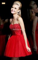 New 2014 strapless red short wedding dress vestido de noiva a toast to the bride wedding dresses female wedding gowns 126
