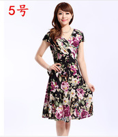 free shipping new arrival fashion printed Chiffon V neck plus size 16 colors Floral slim dress