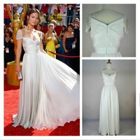 Real PictureHot Sale White Cap Sleeve Chiffon Dress Party Evening Elegant Floor Length Beadwork Vestidos Formales New Arrival