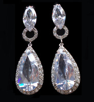 Luxury Crystal Zircon Waterdrop AAA Cubic Zirconia Drop Earrings Fashion Bridal Wedding Dinner Party Earrings