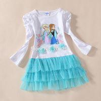 Free shipping  the first Girl girls long sleeve white+blue TUTU dress dresses 5pcs/lot OD26