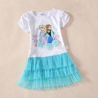 Free shipping  the first Girl girls short sleeve white+blue TUTU dress dresses 5pcs/lot OD27