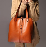 2014 New Fashion Large Genuine Leather Women Handbag Ladies Vintage Bucket Shaped Portable Shoulder Bag,Handbag
