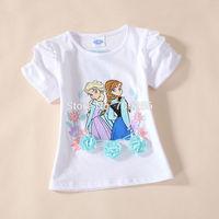 Free Shipping  Kid girl baby child children t shirt short sleeve clothes cotton Princess 3-8T 5pcs/lot CT19