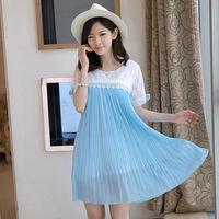 New Summer Chiffon Lace Maternity Dress Short Sleeve Pregnant Women Plus Size Dress