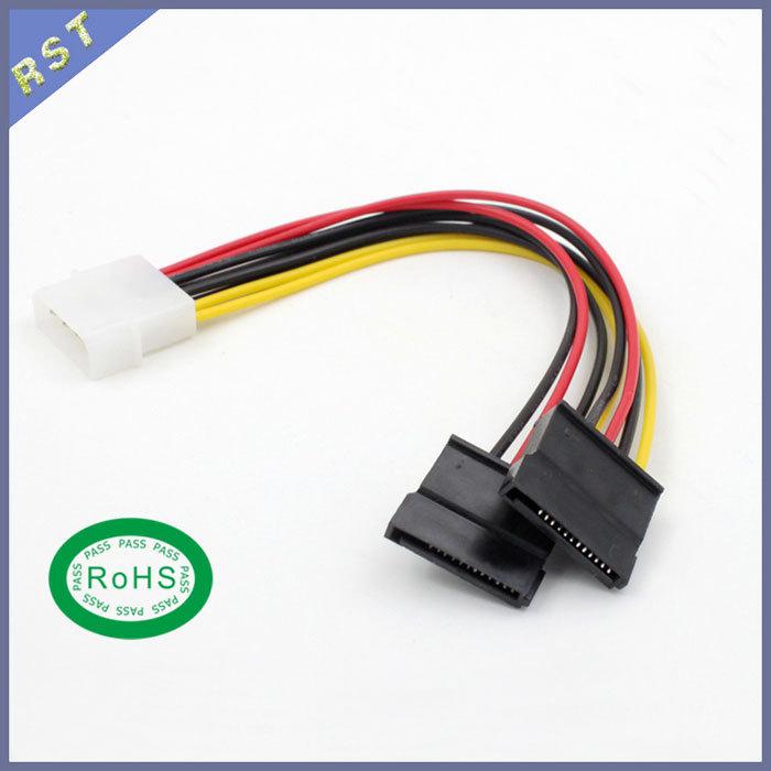 10pcs/lot IDE Molex 4 Pin Male to 2x SATA 15 Pin Female Power Splitter Cable - 20cm(China (Mainland))