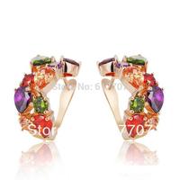 Mona Flowers Multicolour AAA Cubic Zirconia Bridal Stud Earrings for Women Imitated Gemstone Wedding Jewelry