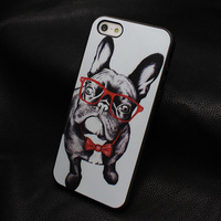 1pcs Hot Sale New Arrive case for Iphone 4 4S 5 5s Promotion Painted Pug with glasses style hard back cover W080
