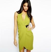 2015 fashion sexy V-neck slim waist cross women's short dress free shipping