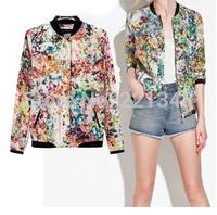 New women's wholesale flight jackets retro flower print cotton jacket broken tops