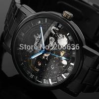 Winner Steampunk Clock Black Full Steel Automatic Mechanical Watch Men Fashion Skeleton Mechanical Wrist Watch Relogio Masculino