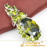 Xmas Day Gift ! New Fashion Style 925 Silver Dazzling Jewelry Peridot Zircon  Pendant For Women P0695 Free Shipping