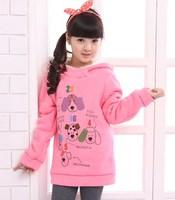 2014 winter fashion cartoon printing Girls hoody children hoodies velvet inner thickening children sweater  roupa infantil