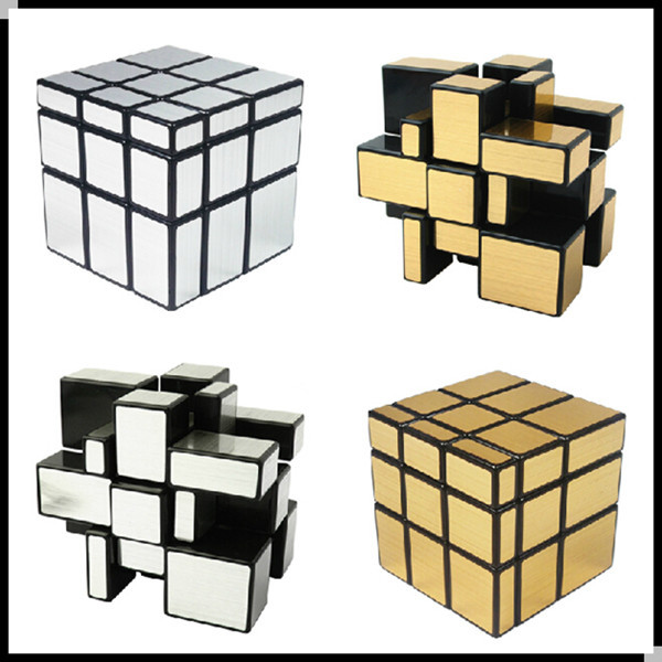 2014 ShengShou 1pc Mirror Magic Cube professional 3x3x3 Gold&Silver cubo magico Puzzle Speed classic toys learning & education(China (Mainland))