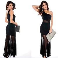 Women's  Fishtail Swing Evening Dresses Summer Sexy Black Long Party Dress Clubwear Vestido de Festa Free shipping