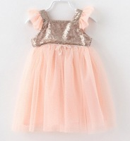 2014  Summer Sequins Gauze Mosaic Camisole Flying Sleeve  Children dress  Girls Sequin Bow Party Princess