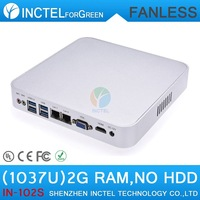 Fanless aluminum celeron 1037u processor 2G RAM only barebone mini car pc