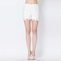 YIGELILA 5158 Latest Fashion Women Milk White Lace Shorts Straight Shorts 2014 Free Shipping
