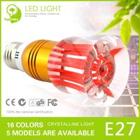 Free Shipping 6pcs/lot Fashion 3W RGB LED Crystal Light E27 base 220V Colorful Bulb 2 Years Warranty + Free Remote Controller