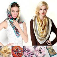 Fashion Pure Mulberry High Quality Square Scarf Exquisite Printed 90x90cm Hijab Fashion Brand Womens Crepe Satin Silk Shawl