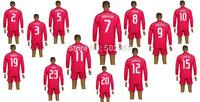 Best quality 2014/15 Real Madrid long sleeve soccer jersey & short,2015 Real Madrid long sleeve RONALDO 7# pink soccer kit