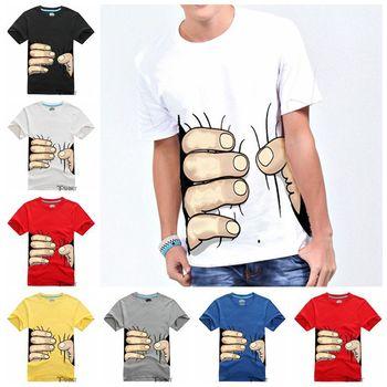 2014 Men Clothes Big Hand 3d t shirt visual creative personality spoof grab your cotton T-shirt shirt