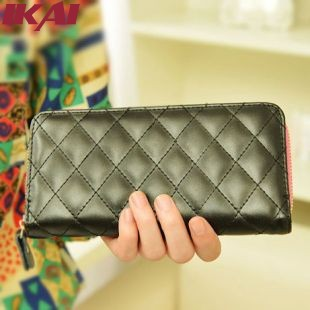BWD018 Fashion Zipper Long Leather Wallet Women Metal Purse Hollow Out Card Holders Day Clutch Female Handbags Ladies' Wallets(China (Mainland))
