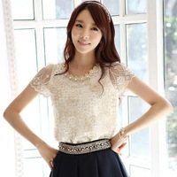 2014 Hot Summer Women's chiffon shirts Short Sleeve Collar Beading Embroidery O-neck Lace blouse Tops Female Clothing J0569