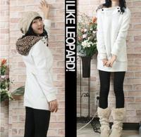Girls New Fashion Sweet Leopard Print Cap Long Sweatshirt White Black