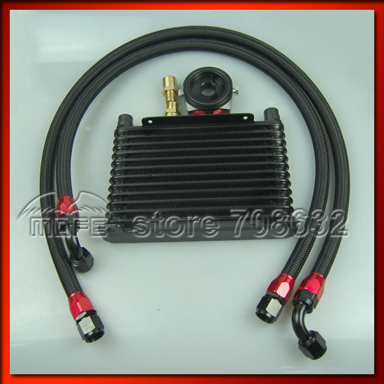 Universal Engine Transmission AN10 13 Row Oil Cooler Kit Oil Sandwich Adapter Braided Nylon Stainless Steel