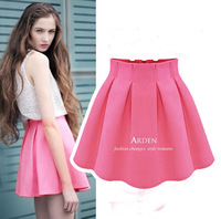 2014 Spring And Summer High Waist Pleated Skirt Fluffy Short  Female Bust Chiffon Skirt Plus Size Basic Skirt