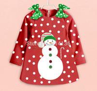 New 2014 Baby Girl Christmas Dress Girl's long Sleeve Merry Christmas Dress Kids Cotton Dot Casual Dress Girls Tutu Dress