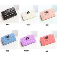 HOT SALE  2014 new Fashion Lingge Lady Buckle Zip Wallet Ladies Hand Wallet Women Clutch Wallets Genuine Leather Purses